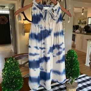 ADIVA Amazing blue and tan sleeveless top! Size S